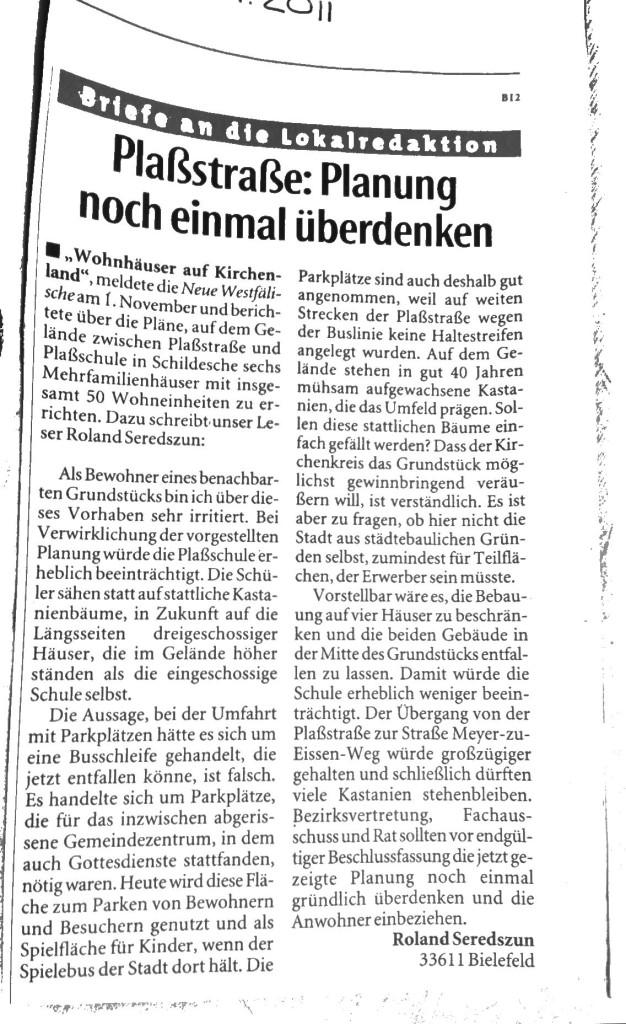 Leserbrief von Roland Seredszun in der NW 2011